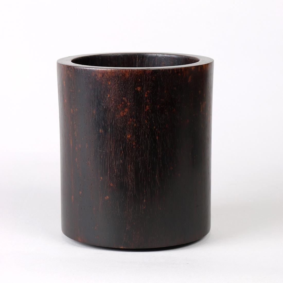 Chinese Cylindrical Wood Brush Pot - 3
