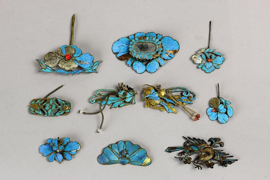 Chinese Kingfisher Feather Hair Pins
