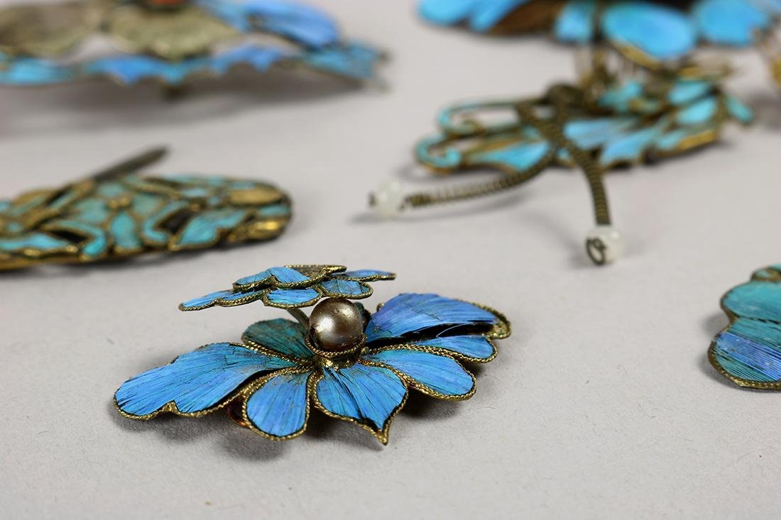 Chinese Kingfisher Feather Hair Pins - 3
