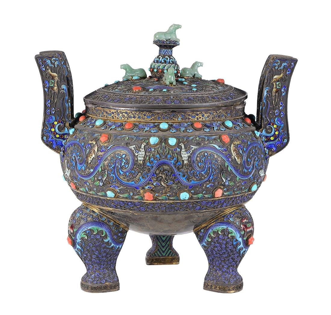 Chinese Enameled Ding Censer