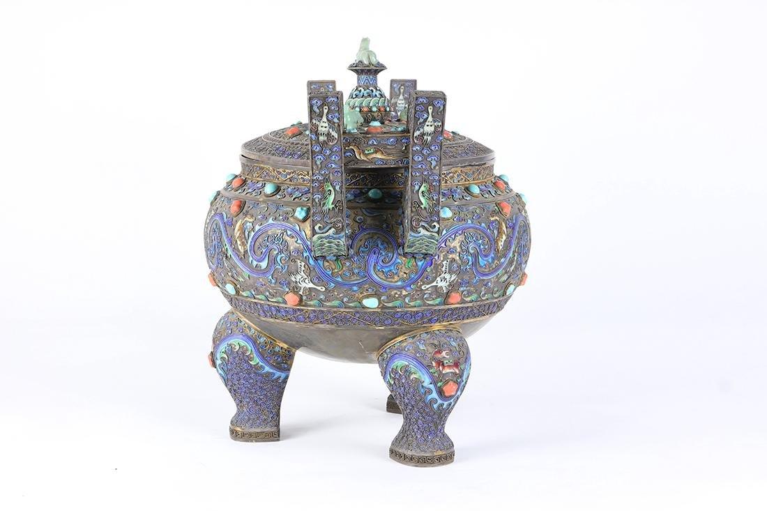 Chinese Enameled Ding Censer - 3