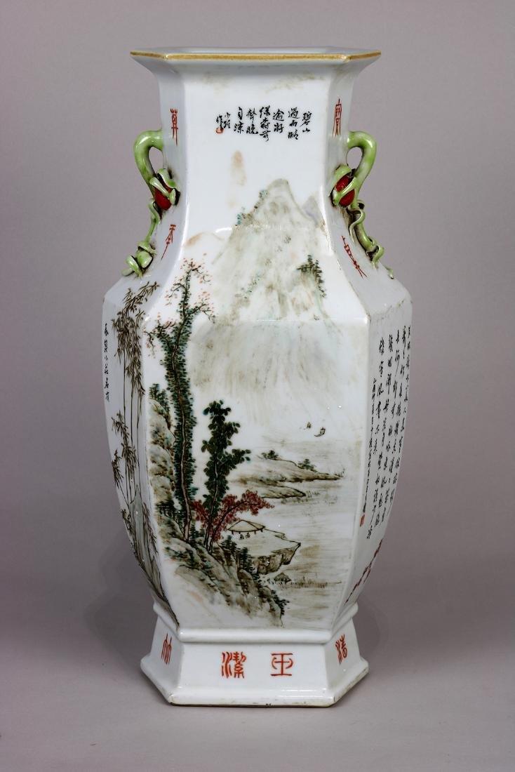 Chinese Hexagonal Porcelain Vase