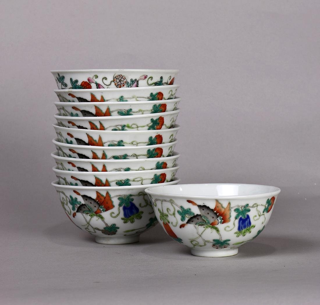 Chinese Porcelain Cups, Butterflies/Melons