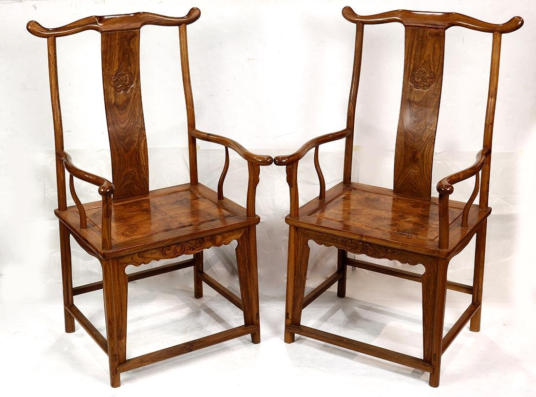 Chinese Wood Officials Hat Armchairs