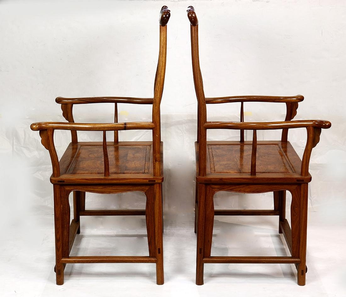 Chinese Wood Officials Hat Armchairs - 3