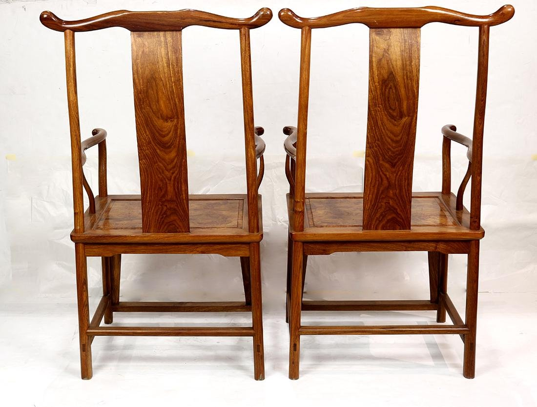 Chinese Wood Officials Hat Armchairs - 4