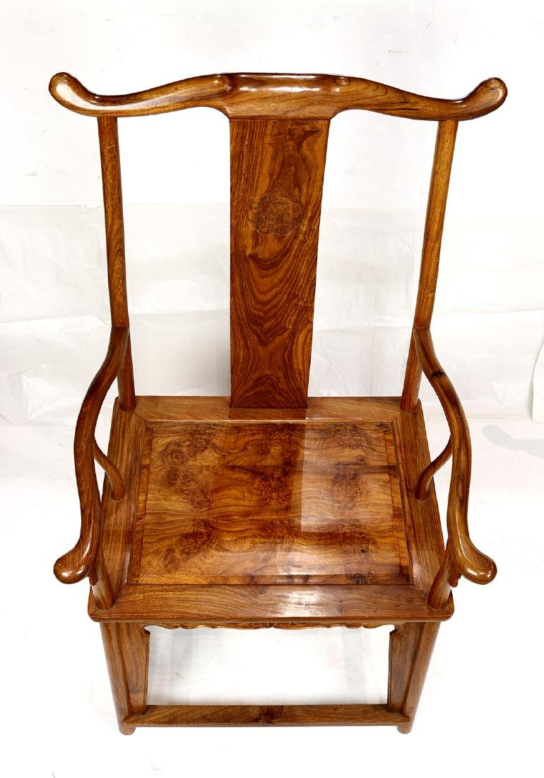 Chinese Wood Officials Hat Armchairs - 6