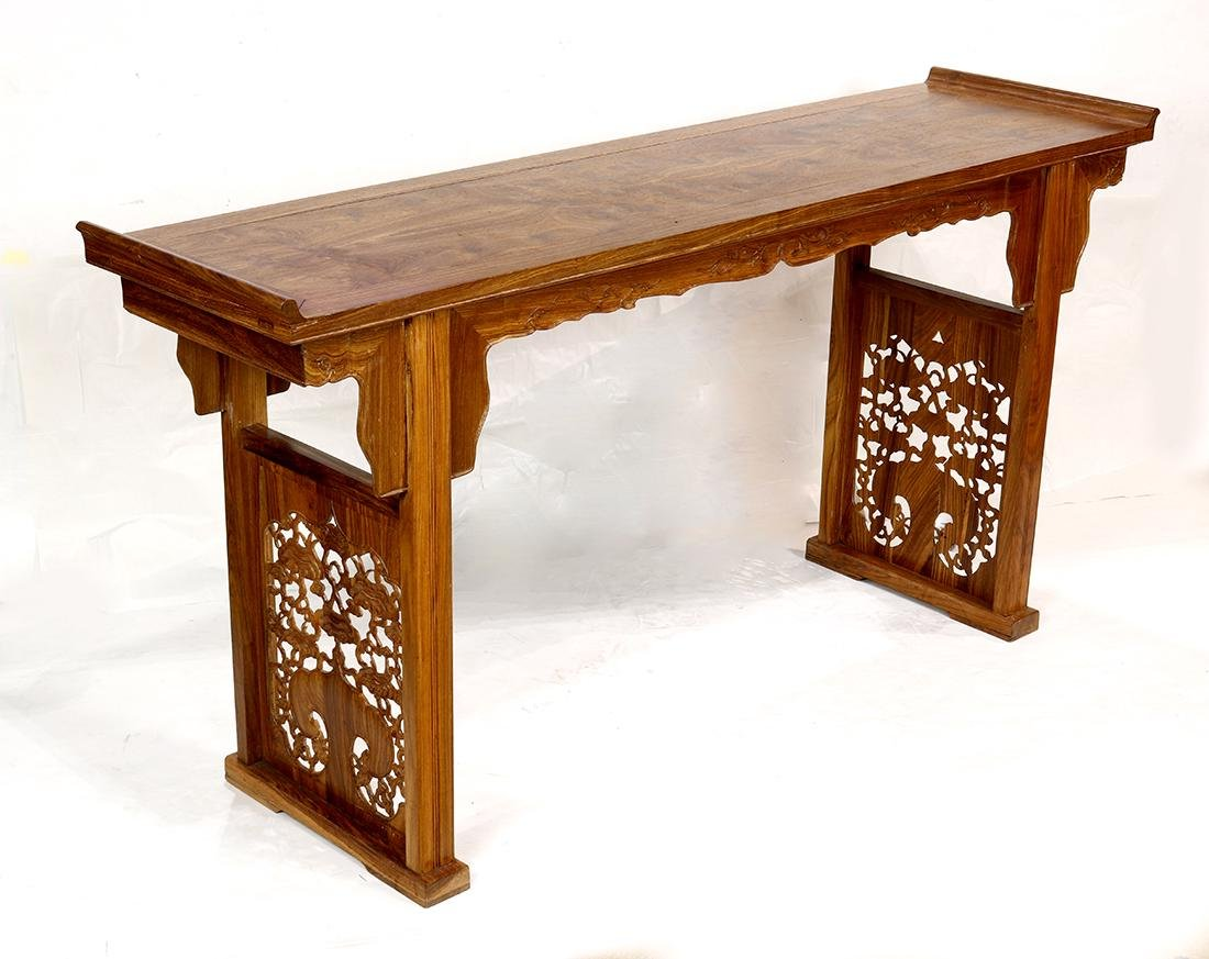 Chinese Wood Altar Table, Lingzhi