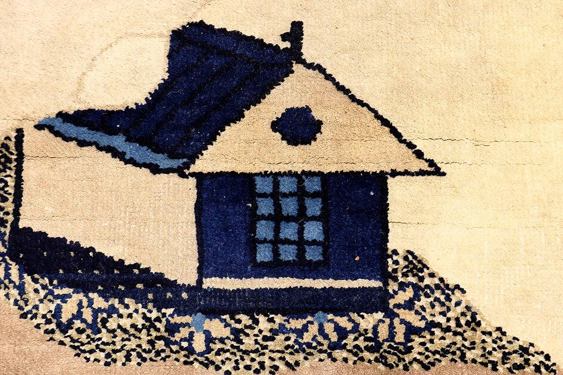 Chinese area rug, depicting a landscape with houses, - 2