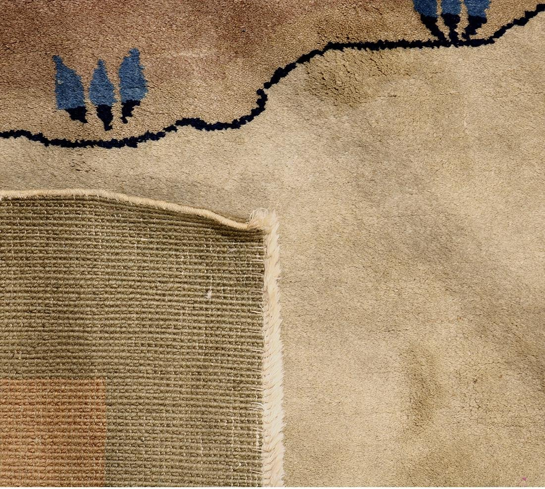 Chinese area rug, depicting a landscape with houses, - 3