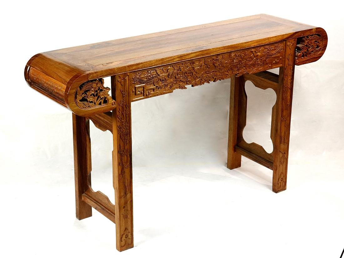 Chinese Wood Altar Table, Peonies/Phoenix