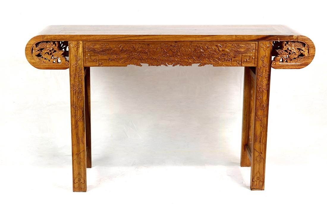 Chinese Wood Altar Table, Peonies/Phoenix - 2