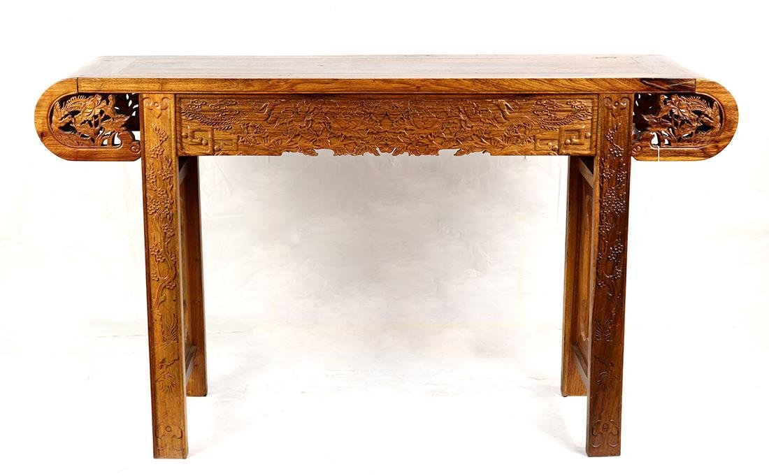 Chinese Wood Altar Table, Peonies/Phoenix - 3