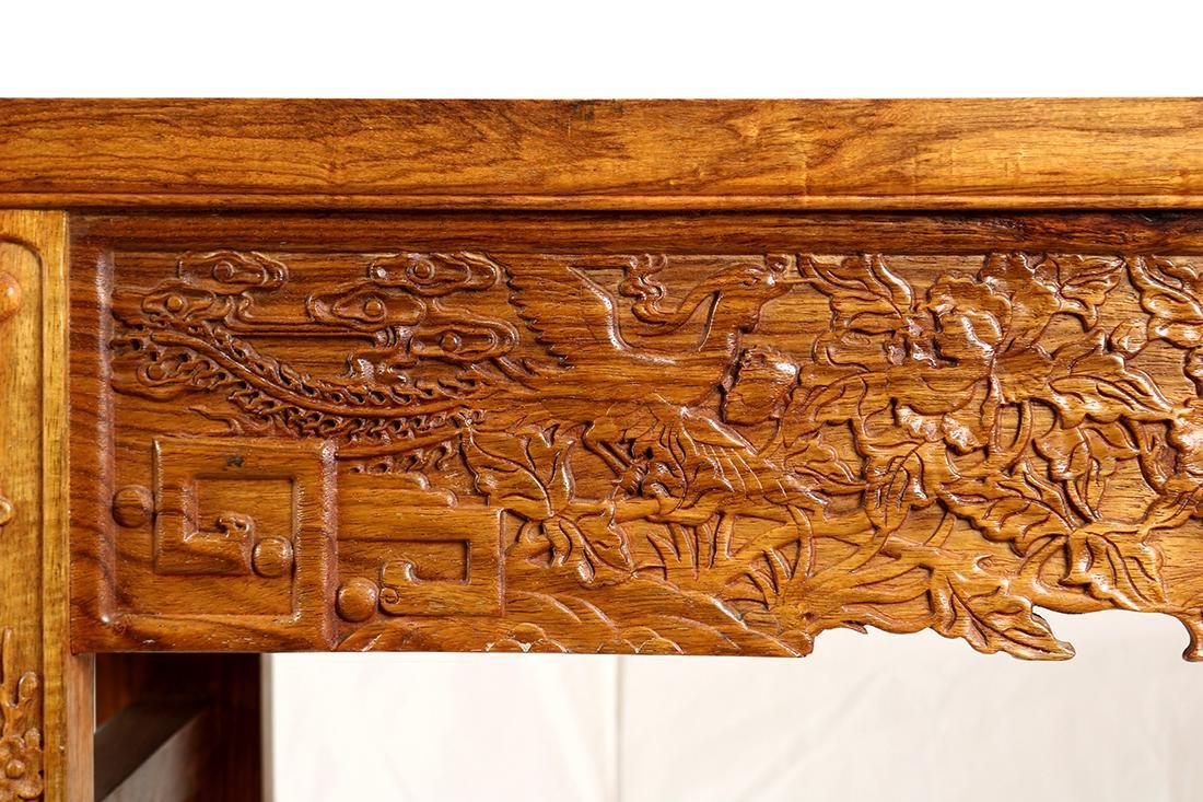 Chinese Wood Altar Table, Peonies/Phoenix - 5