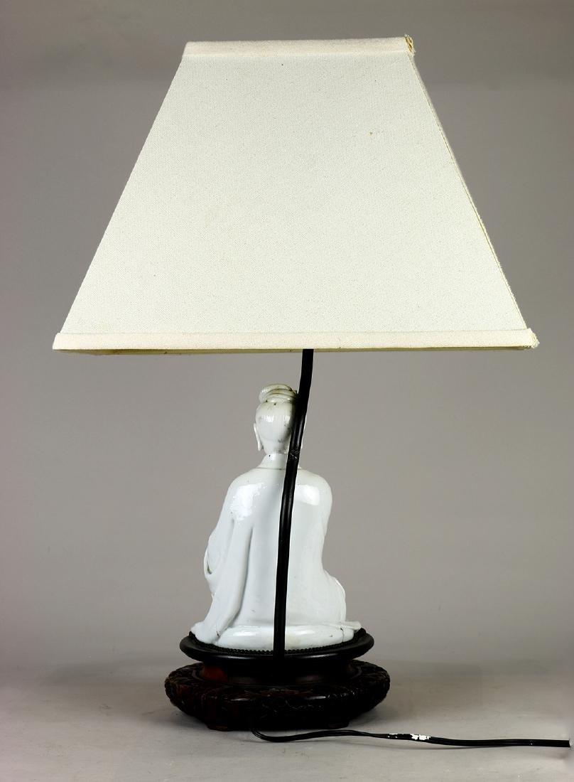 Chinese Blanc de Chine Guanyin/Lamp - 3