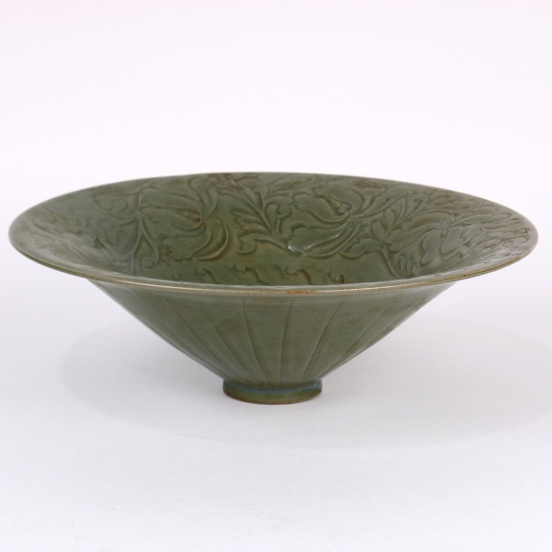Chinese Yaozhou Type Bowl, Flower