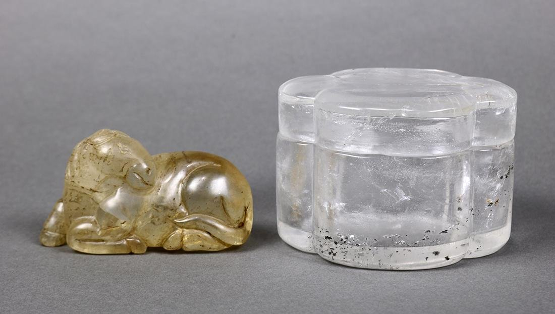 Chinese Rock Crystal Box and Horse