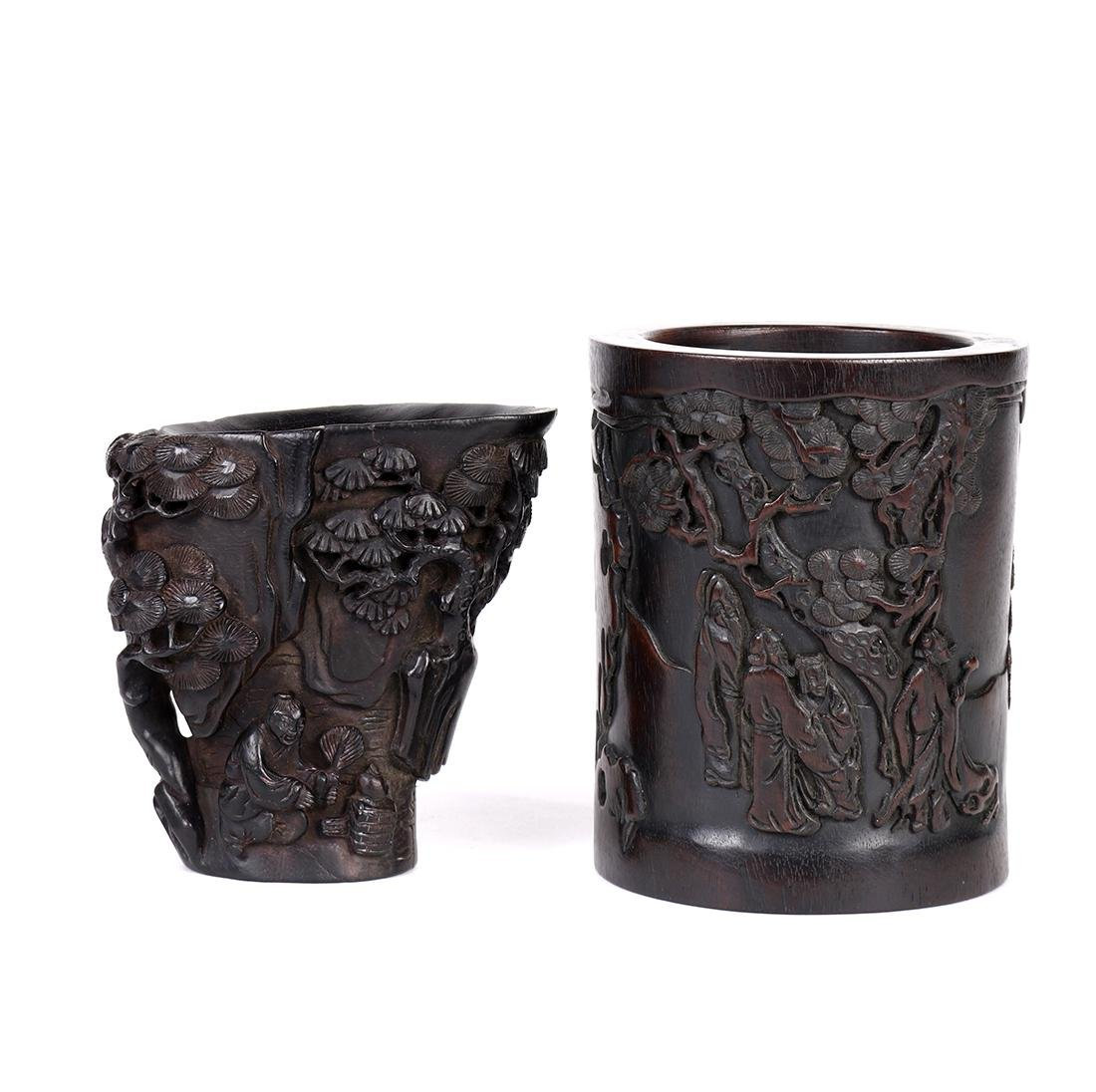 Chinese Wood Cup/Brush Pots