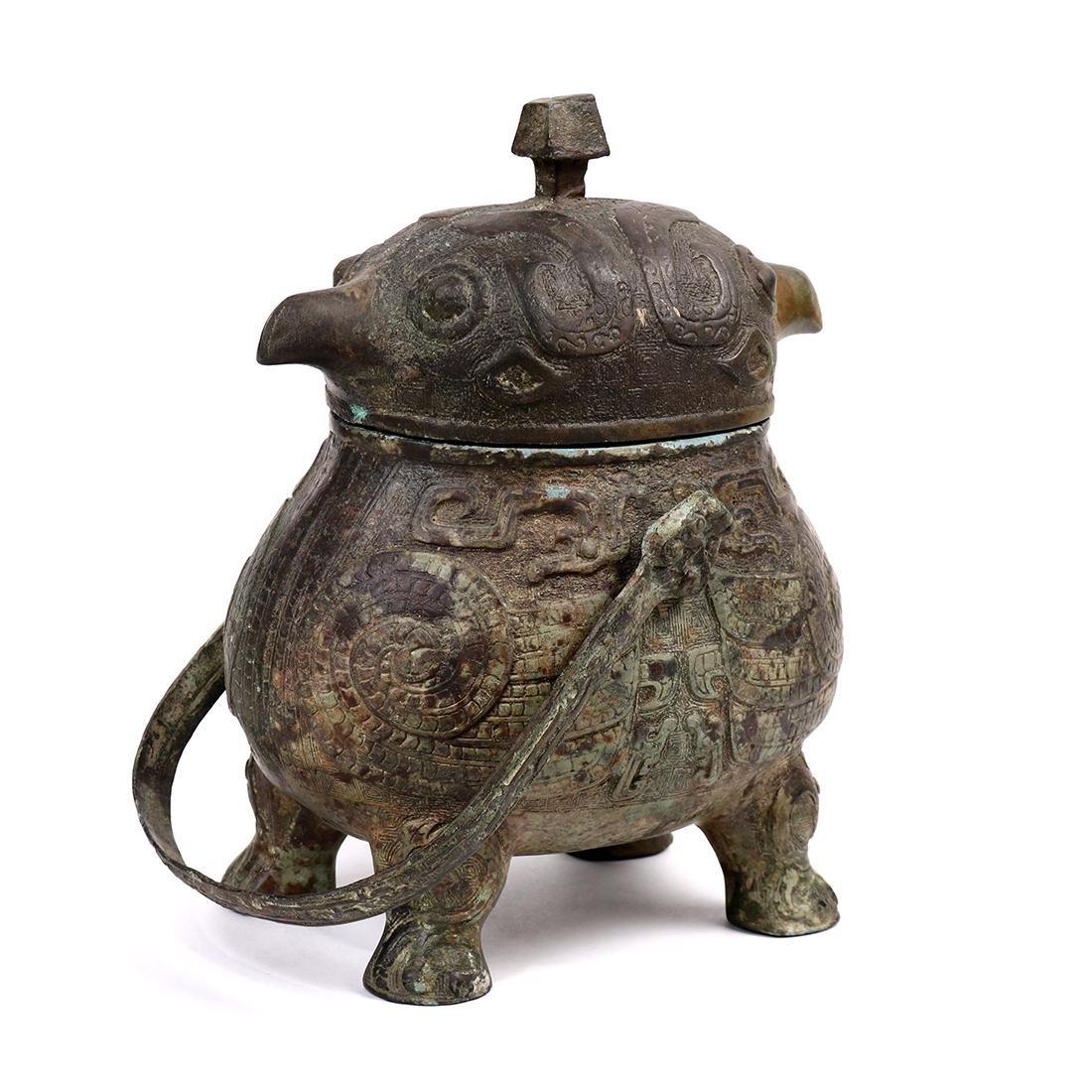 Chinese Bronze Bird Form Vessel