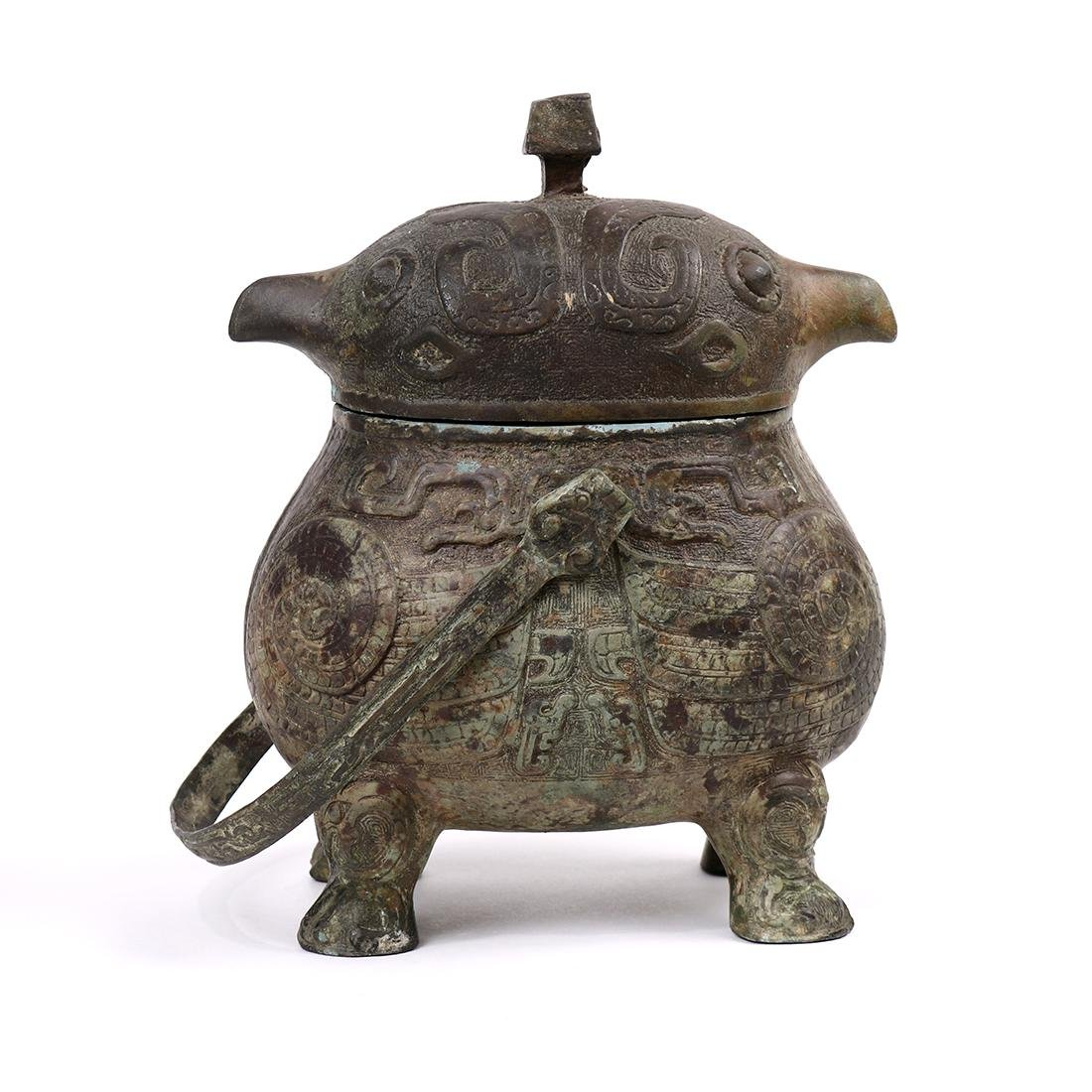 Chinese Bronze Bird Form Vessel - 2