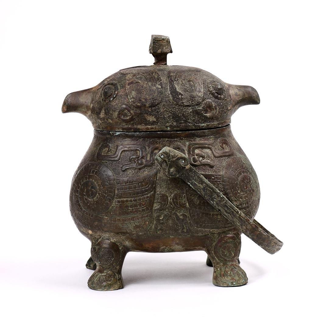 Chinese Bronze Bird Form Vessel - 4