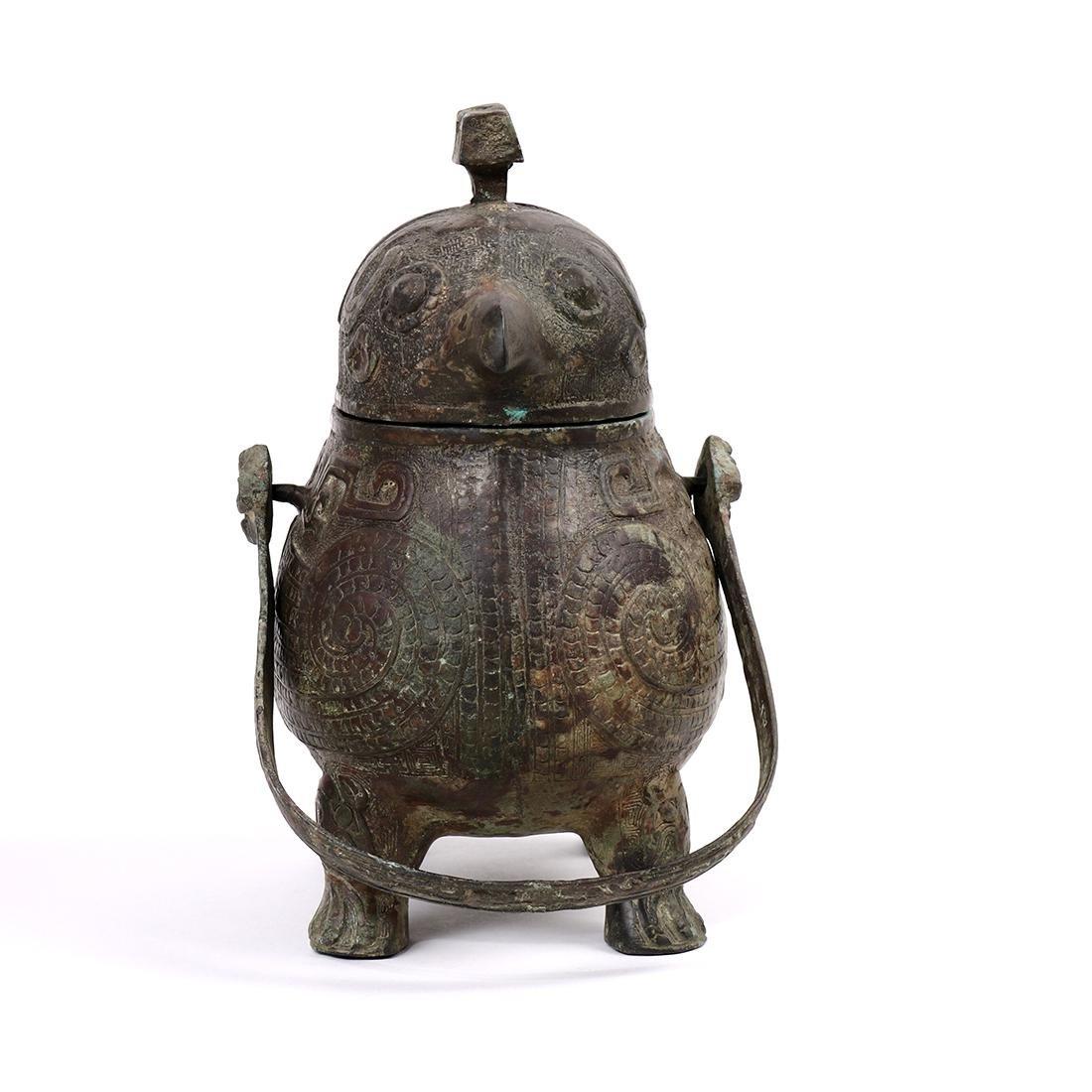 Chinese Bronze Bird Form Vessel - 5