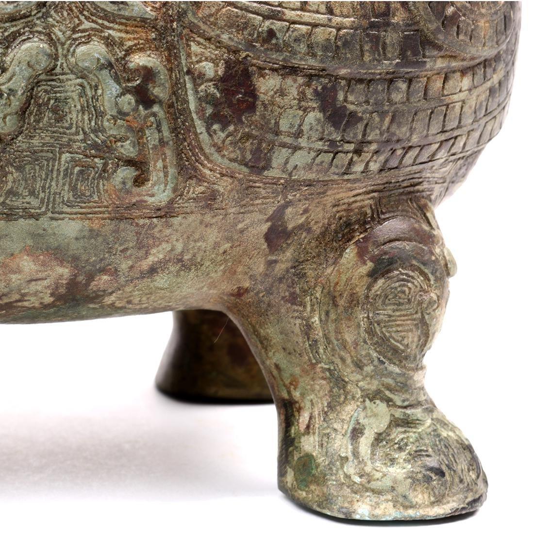 Chinese Bronze Bird Form Vessel - 9