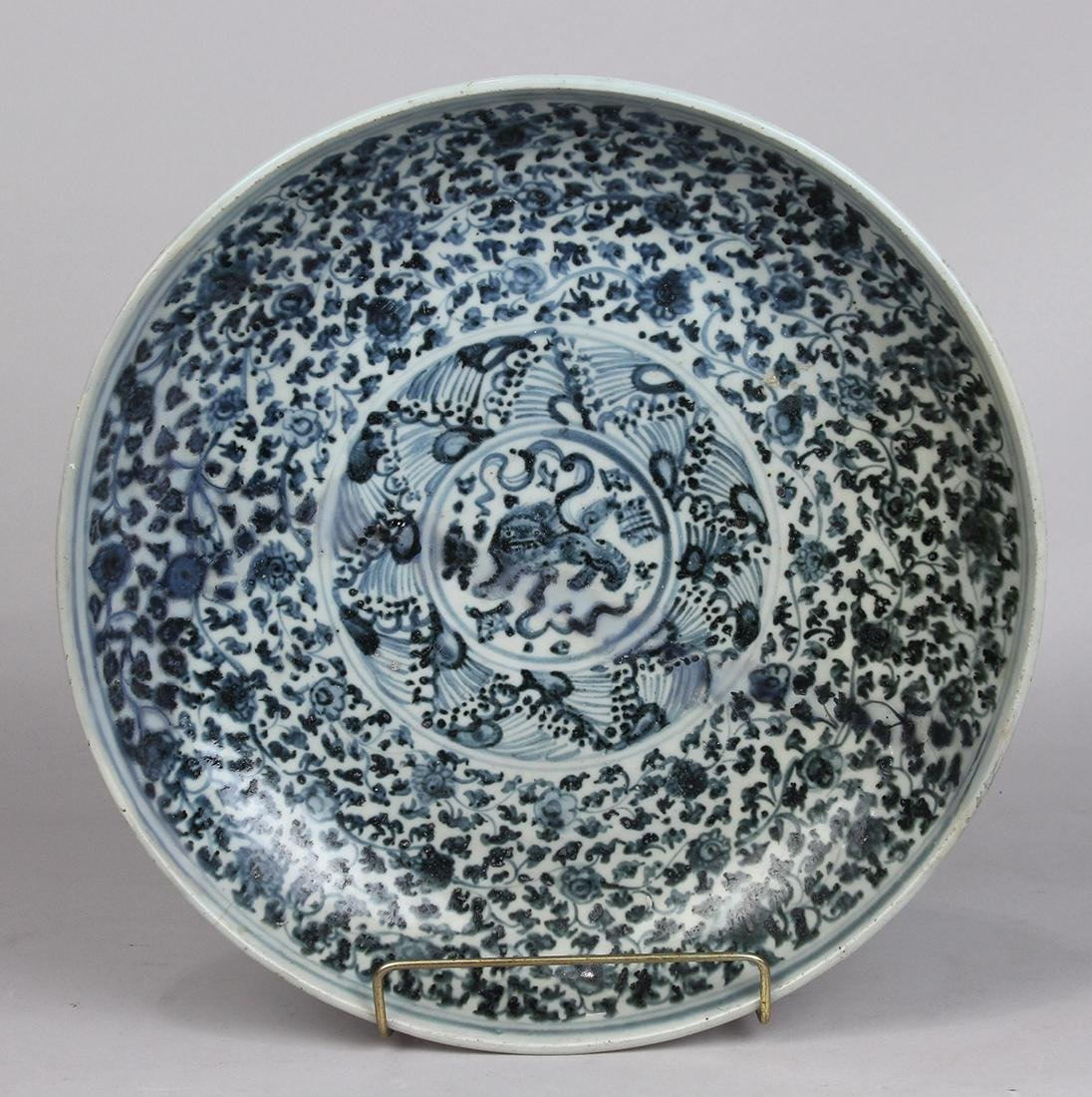 Chinese Blue-and-White Charger, Lion