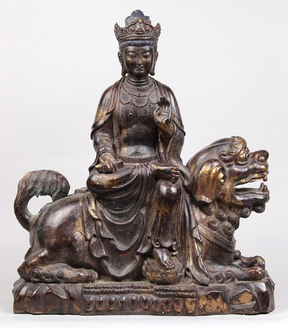 Chinese Alloy Sculpture of Manjusri