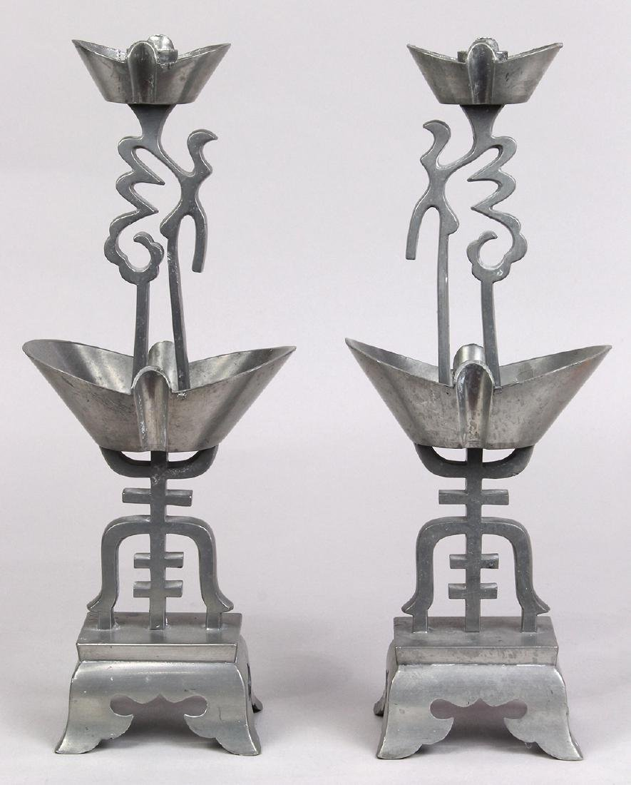 Chinese Pewter Candle Stands
