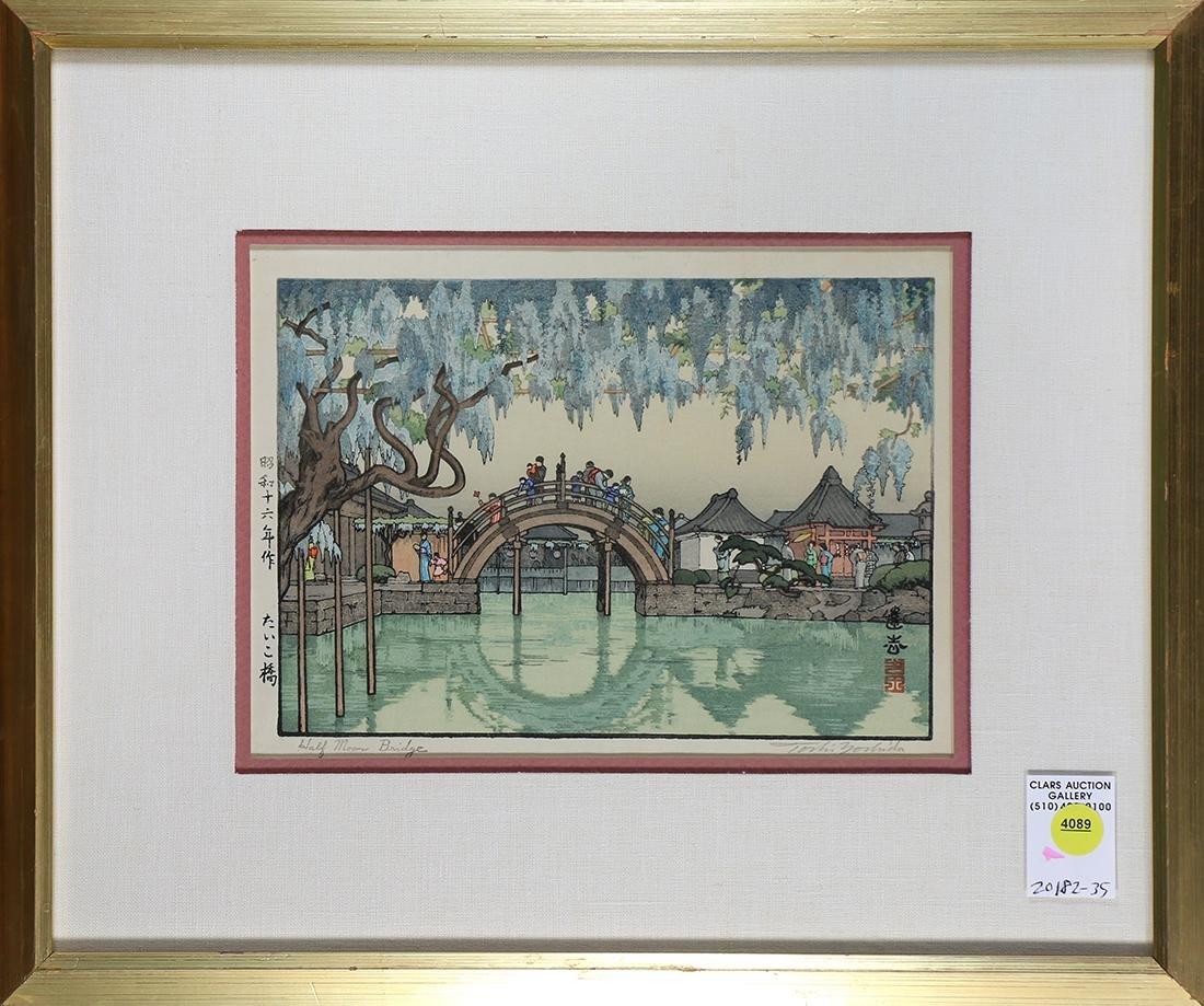 Japanese Woodblock Print, Yoshida Toshi, Half Moon