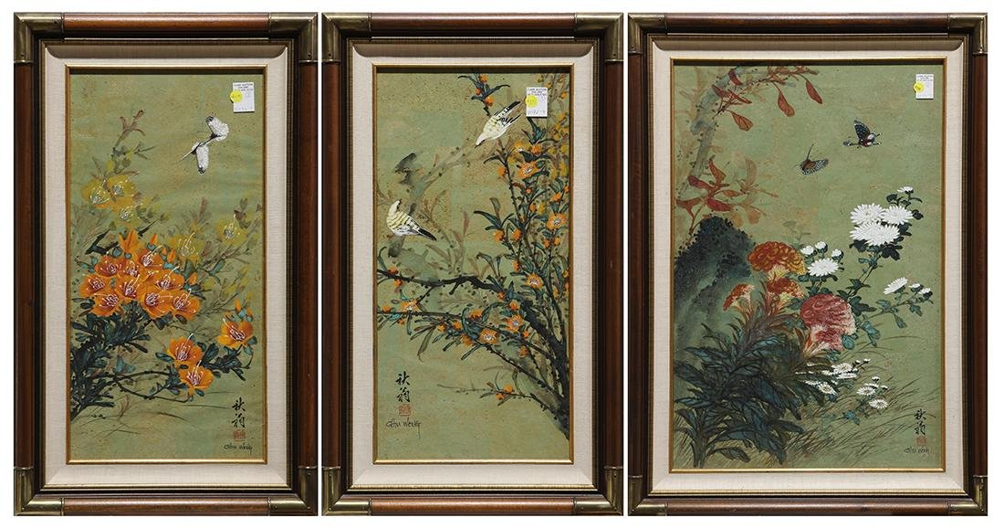 Chinese Painting, Chiu Weng, Birds/Flowers
