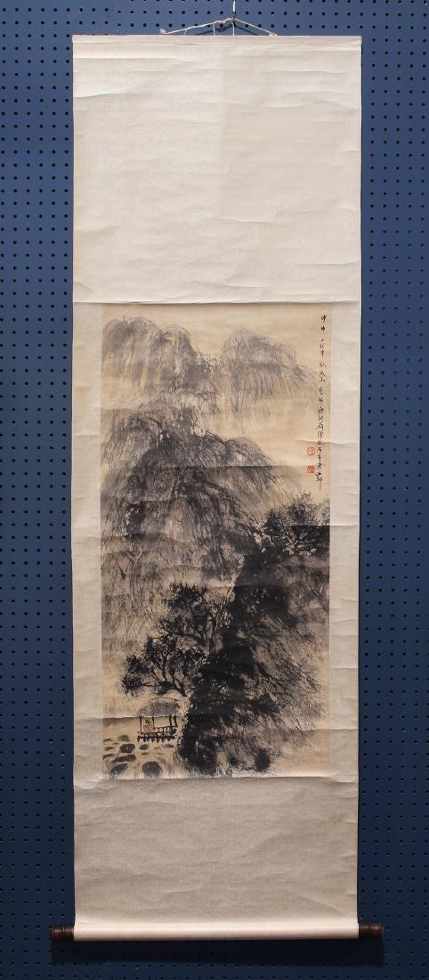 Chinese Scroll, Manner of Fu Baoshi, Landscape