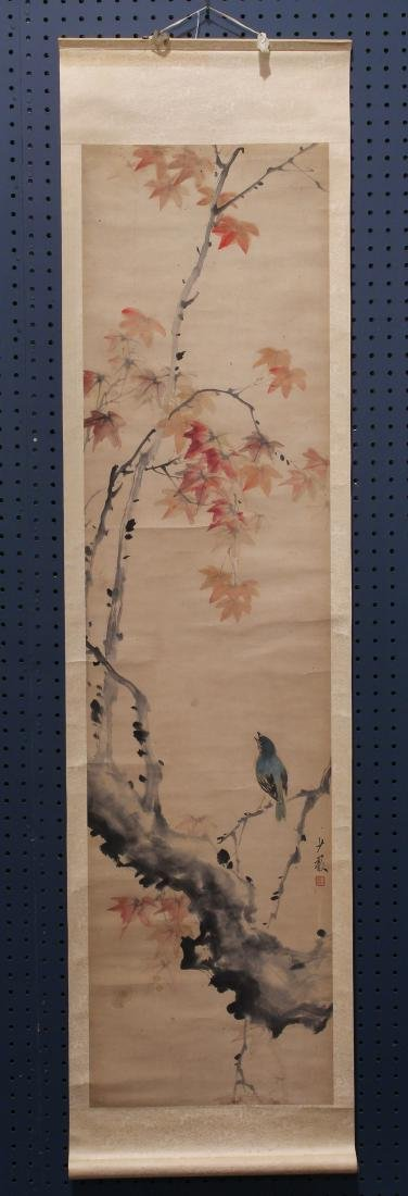 Chinese Scroll, Shaoyan, Bird/Maple