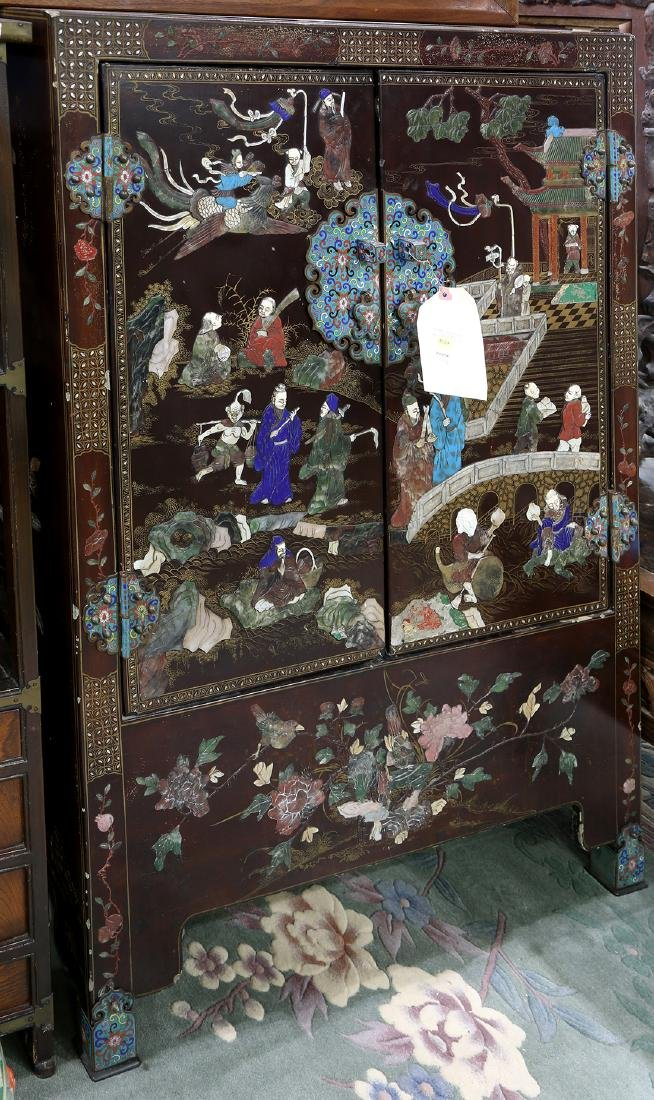 Chinese Overlay Figural Wood Cabinet