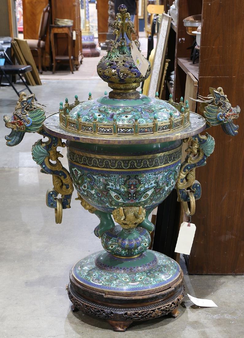 Chinese Monumental Cloisonne Censer