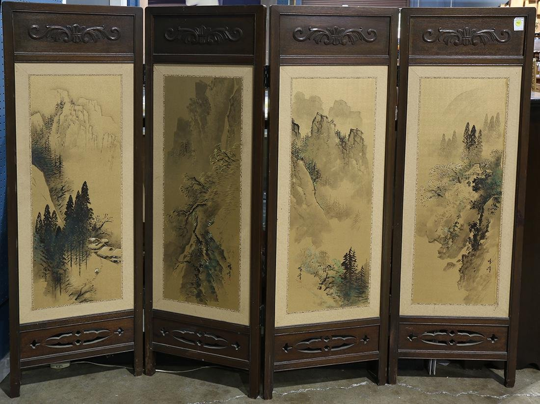 Japanese Screen, Landscape Paintings