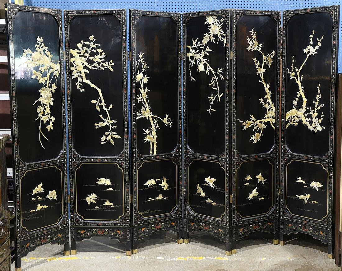 Chinese Overlaid Lacquered Screen