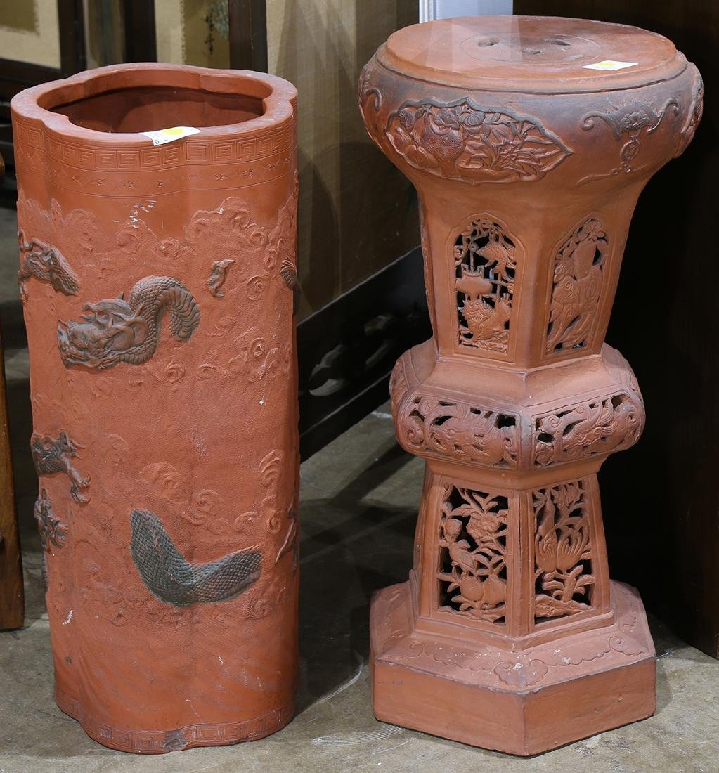 Japanese Ceramic Umbrella Stand/Pedestal Stand