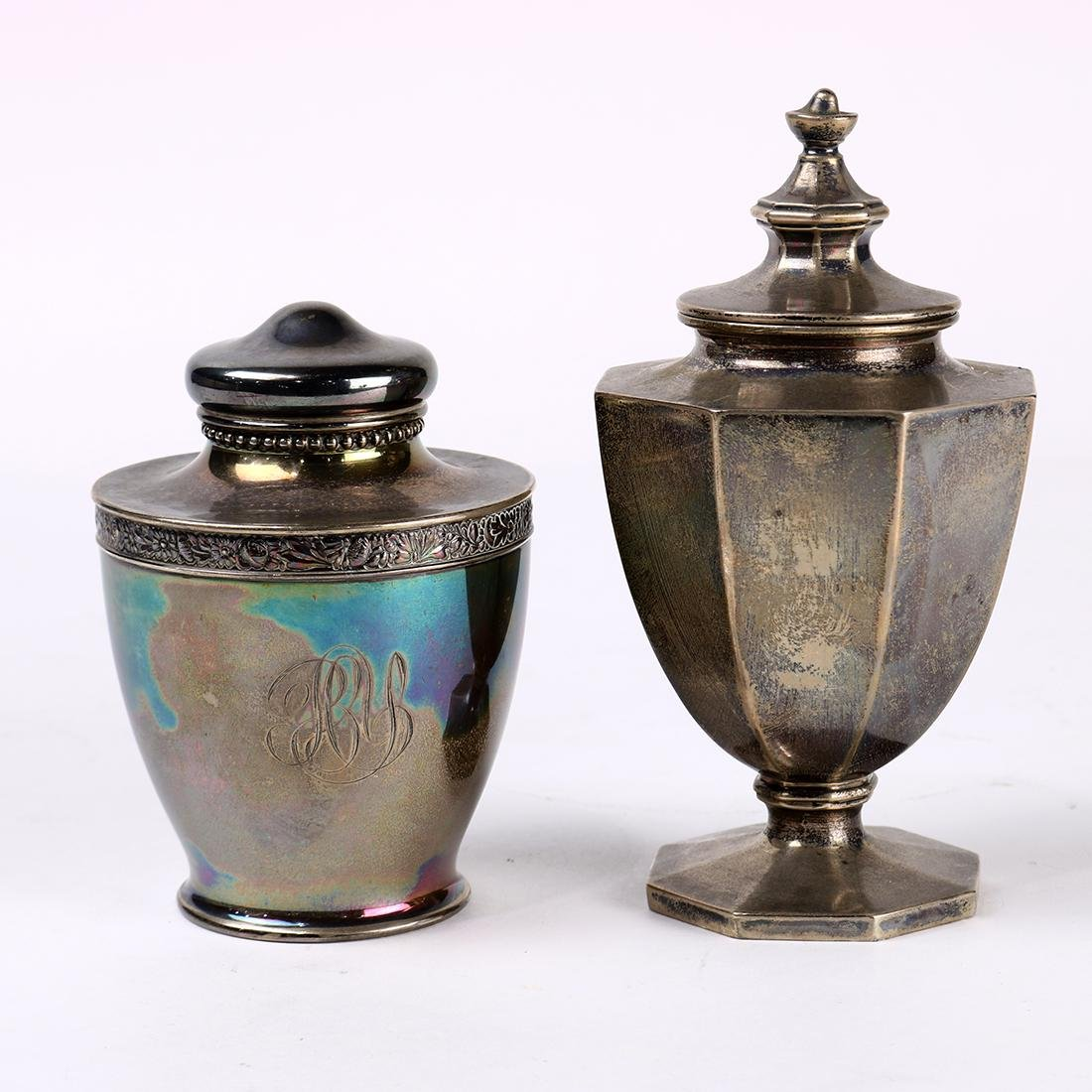 (lot of 2) Gorham sterling tea canisters, consisting of