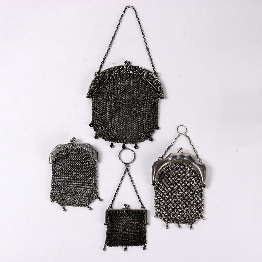 (lot of 4) Vintage silver mesh and chain mail purses,