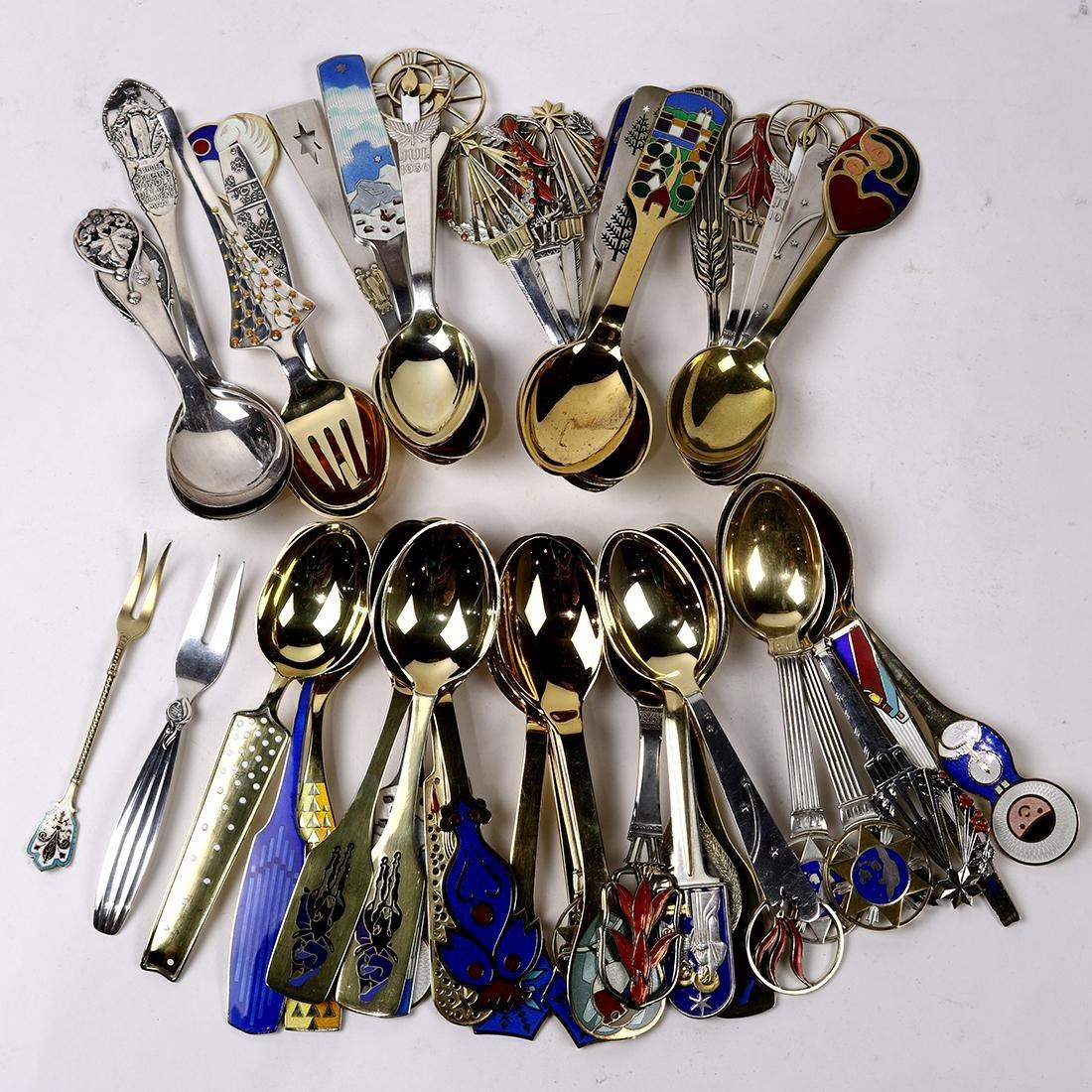 (lot of 46) Danish enameled sterling utensil group,