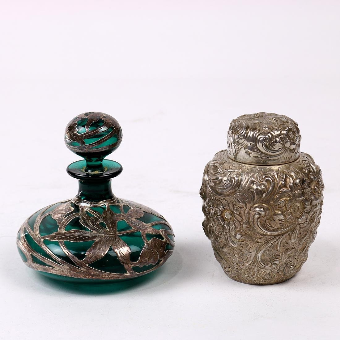 (lot of 2) Sterling and glass vanity articles,