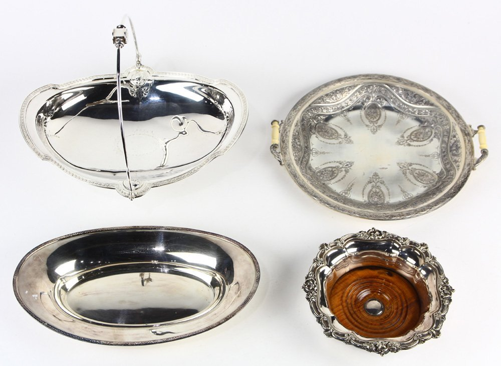(lot of 4) Silverplate tray group,  including a Gorham