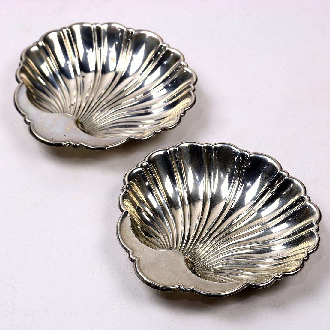 Pair of Gorham sterling silver shell finger dishes,