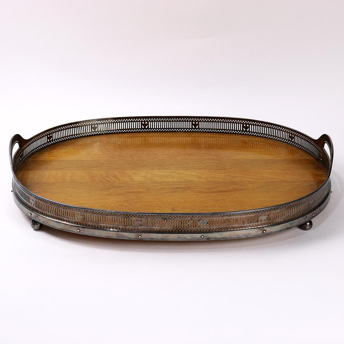 American Gorham silverplate tea tray, the inset wood