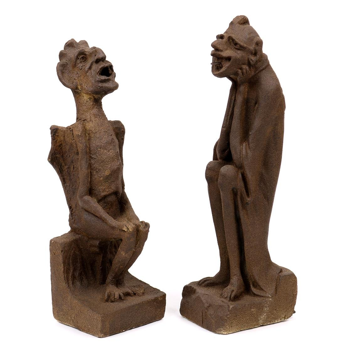 (lot of 2) Architectural composition gargoyles, early