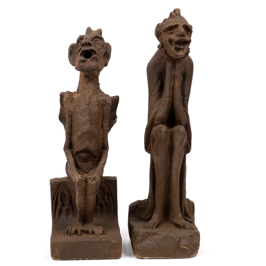 (lot of 2) Architectural composition gargoyles, early - 2