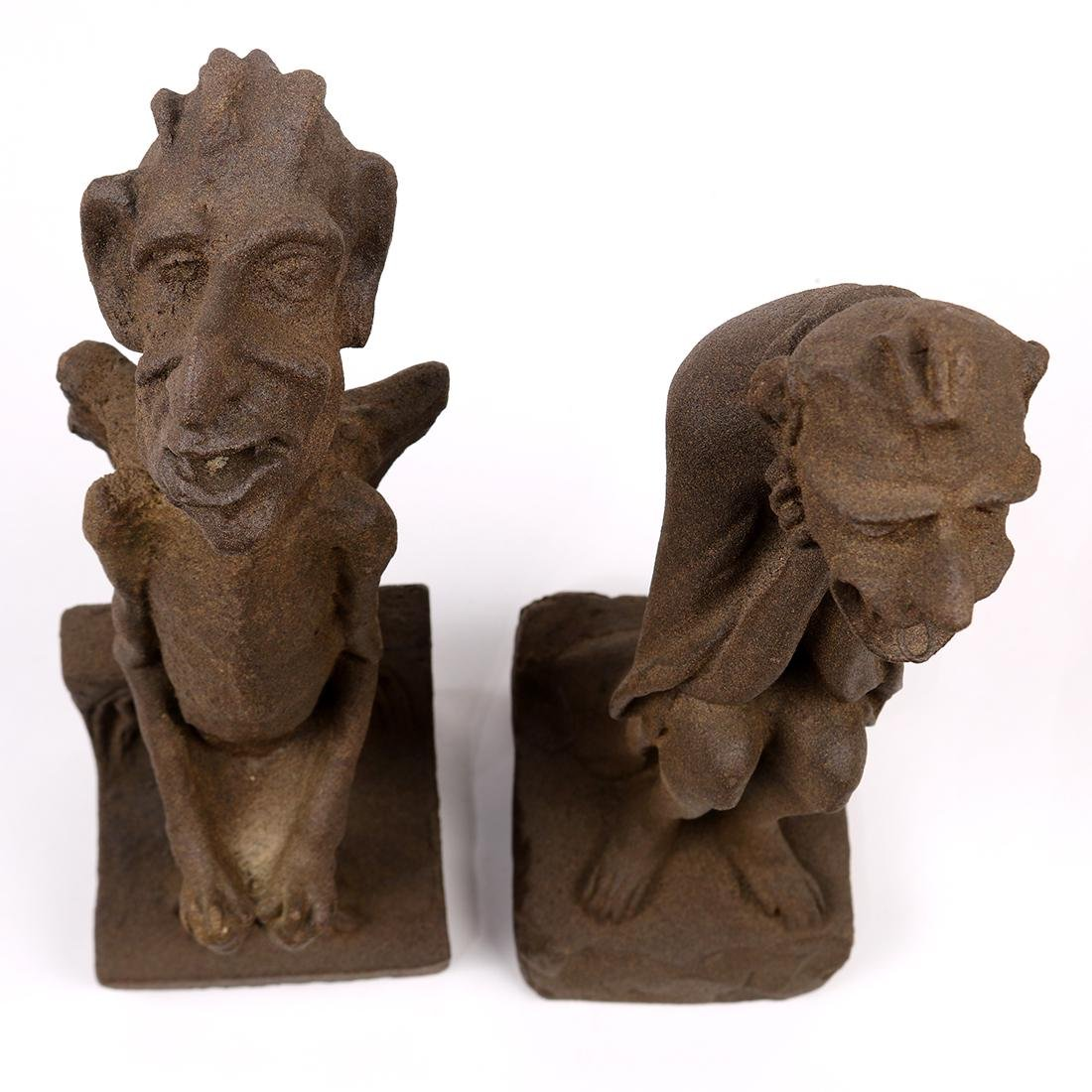 (lot of 2) Architectural composition gargoyles, early - 6