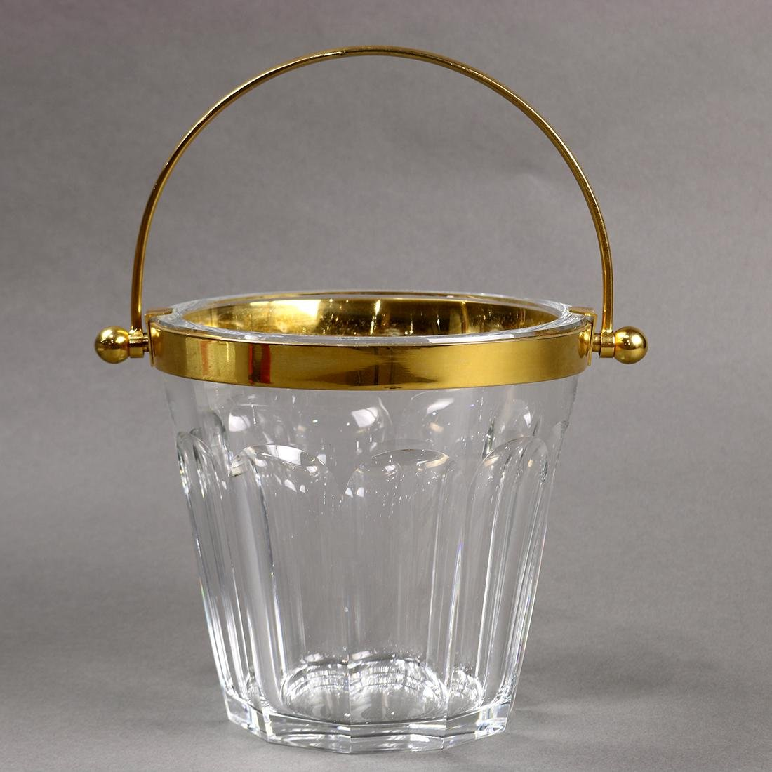 Baccarat crystal ice bucket, the tapering faceted body